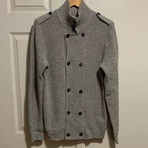 H&M Men's Double Breasted Cardigan Sweater Grey